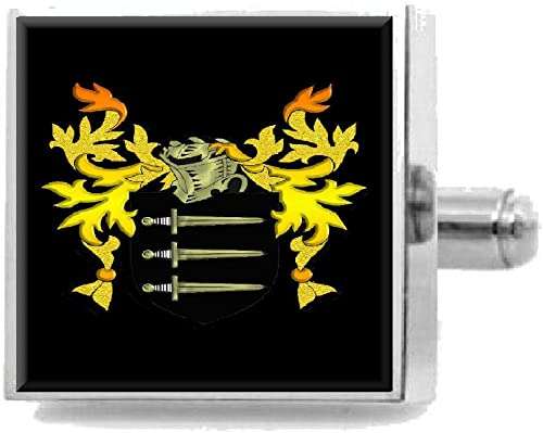Select Gifts Rawlins Ireland Family Crest Surname Coat Of Arms Cufflinks Personalised Case