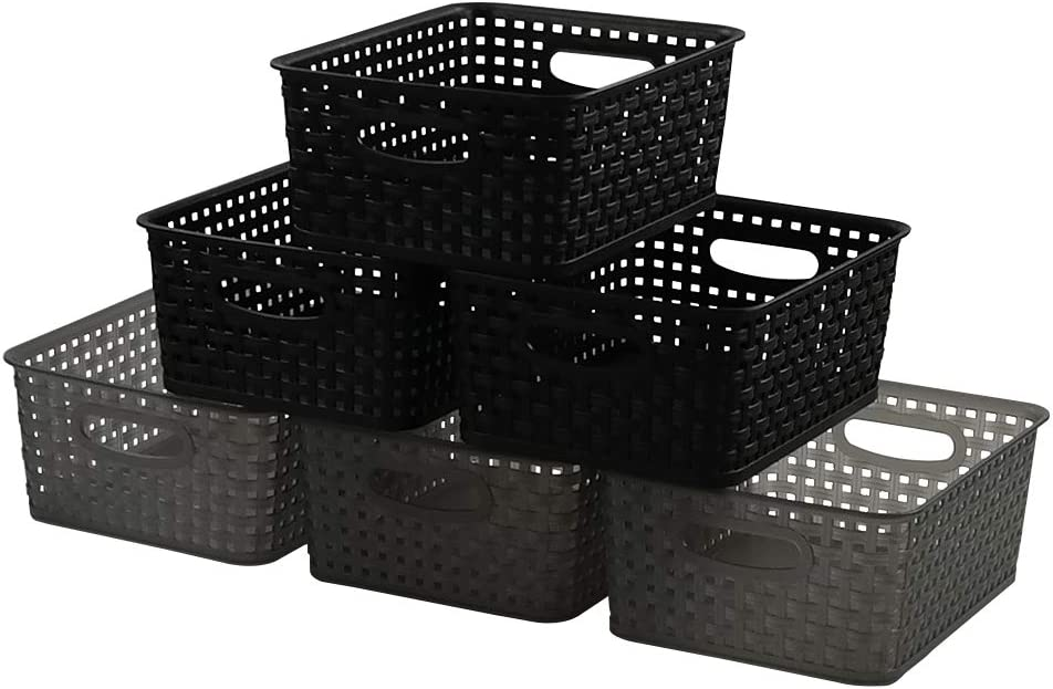 Tstorage Plastic Storage Basket and Bath Home Office Classroom Organizers, Black and Clear Gray, 6 Packs