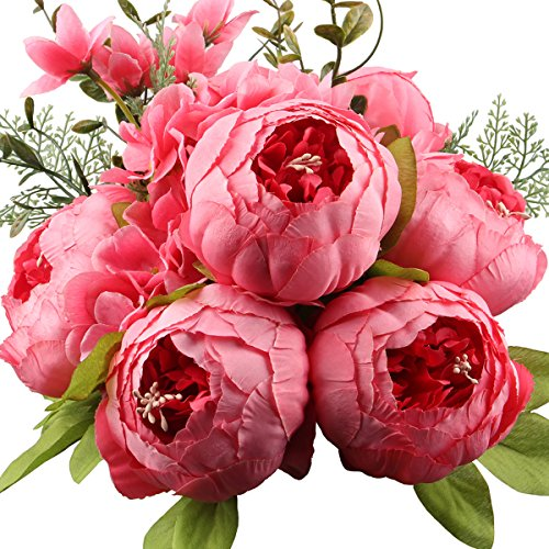 Leagel Fake Flowers Vintage Artificial Peony Silk Flowers Bouquet Wedding Home Decoration, Pack of 1 (Spring Pink)