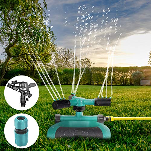 Vocti Garden Sprinkler, Automatic 360°Rotating Lawn Sprinkler Speed & Range Control, Adjustable 3 Arm Sprayer Hose Sprinkler Head, Water Sprinklers Lawns Irrigation System, 3600 SQ FT Coverage