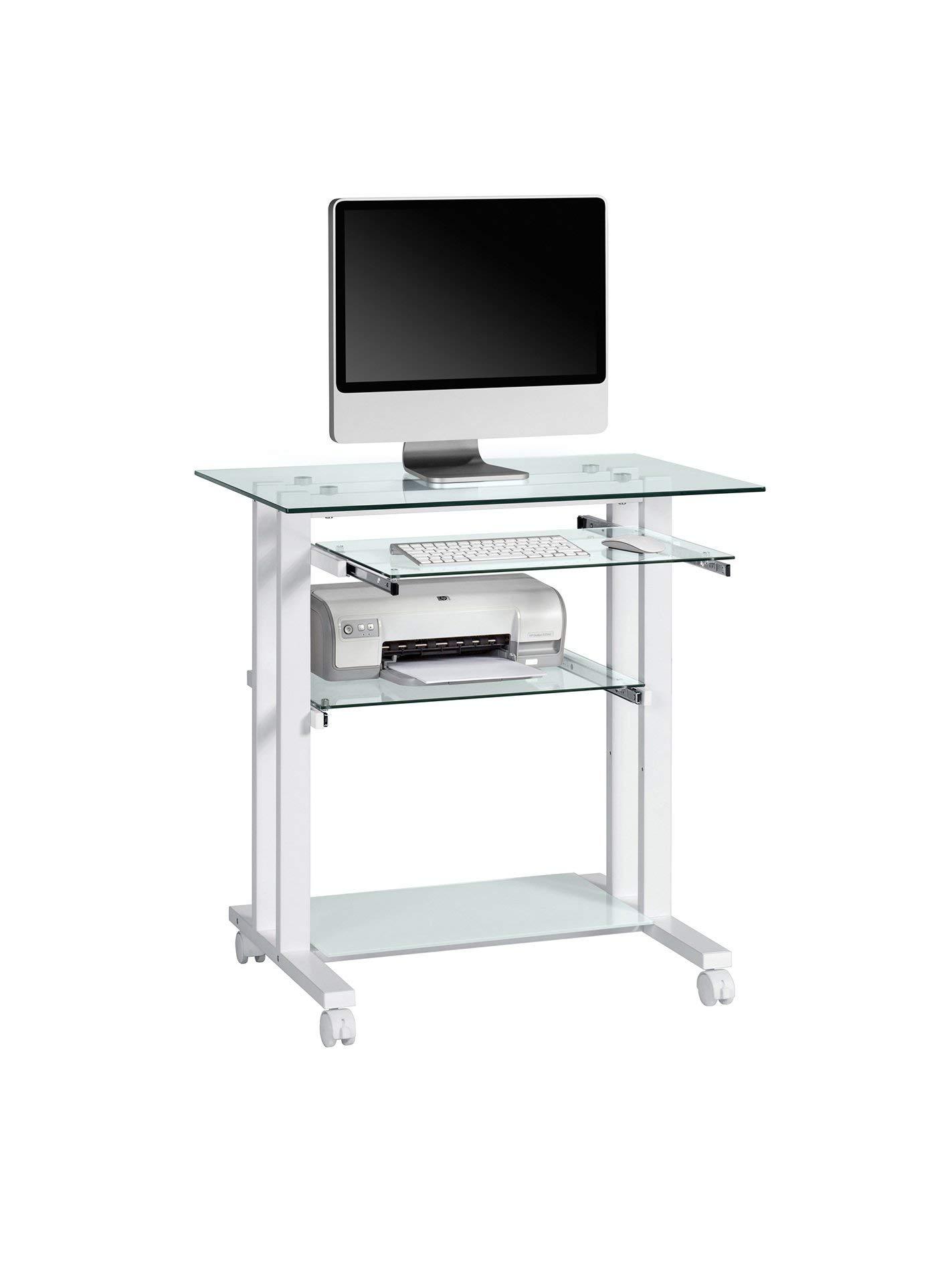 Maja - Mesa para Ordenador con Marco, Vidrio, Color Blanco product image