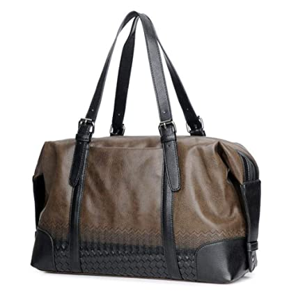 a5105e15b65a Image Unavailable. Image not available for. Color  Sakek.B Large Capacity  Outdoor Men s Gym Pu Leather Travel Tote Duffel Handbag Multifunction  Portable
