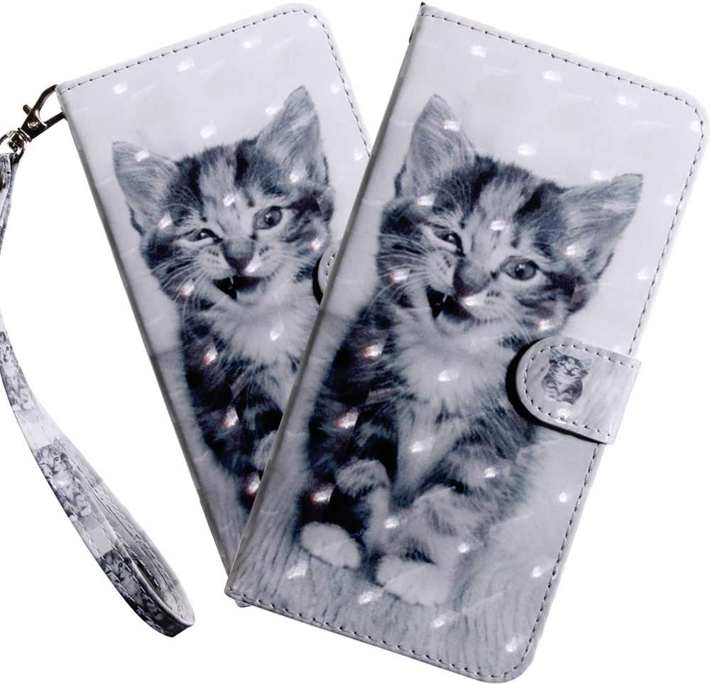 HMTECHUS Moto E5 Play Case 3D Luxury Little Smile Cat PU Leather Wallet Flip with Card Holder Kickstand Book Style Magnetic Cover Compatible with Motorola Moto E5 Play,Little Smile Cat BX