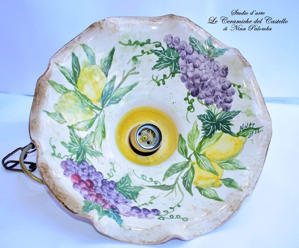 Lampadario diametro 30 centimetri Linea Limoni Uva Ceramica Le Ceramiche del Castello Pezzo Unico Handmade Made in Italy