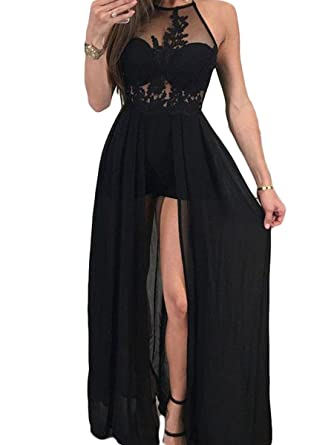 Gotidy Sexy Illusion Sheeer Neck Lace Chiffon Prom Dresses With Slit Black US2