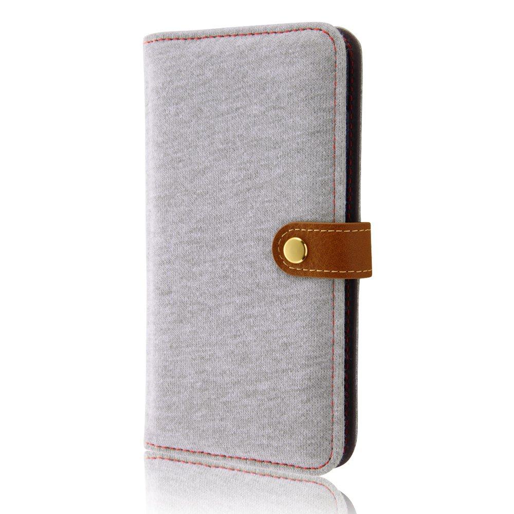 レイ・アウト iPhone 7 Plus 手帳型 ケース ファブリック スナップボタン スウェット/ライトグレー RT-P13FBC1/GR