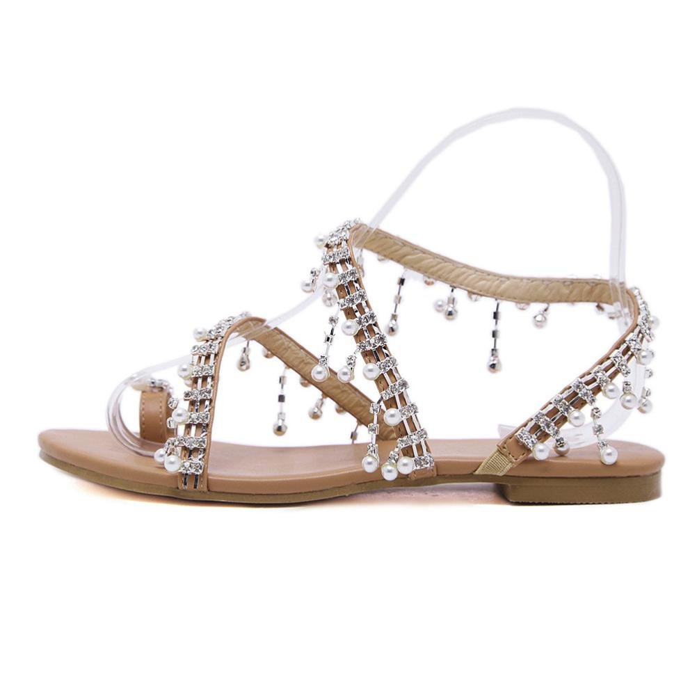 haoricu Clearance Women's Wedding Sandals Pearl Flats Beaded Bohemian Dress Flip-Flop Gladiator Shoes Larger Size