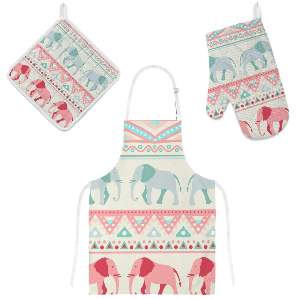 Top Carpenter Polyester Insulation Kitchen Oven Mitts Potholder Apron 3Pcs Set Retro Pattern of Elephant Non Slip Heat Resistant Gloves for Baking Cooking BBQ