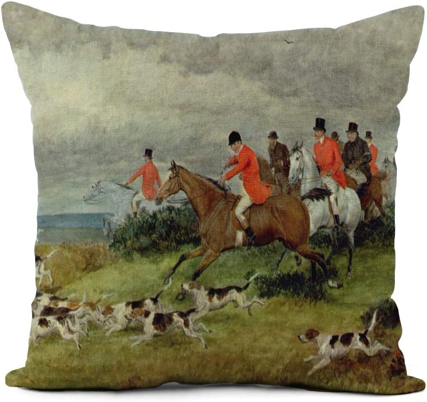 Topyee Throw Pillow Cover 16x16 Inch Randolph Fox Hunting in Surrey 19Th Caldecott Hunt Hunter Home Decor Pillowcases Square Pillow Cases Cushion Covers for Sofa Couch Bed