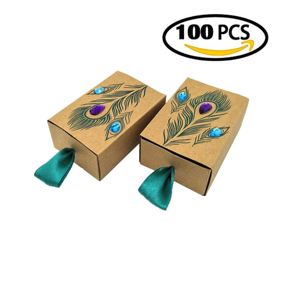 Amazon Vnfei Peacock Candy Boxes Wedding Favors Kraft Paper