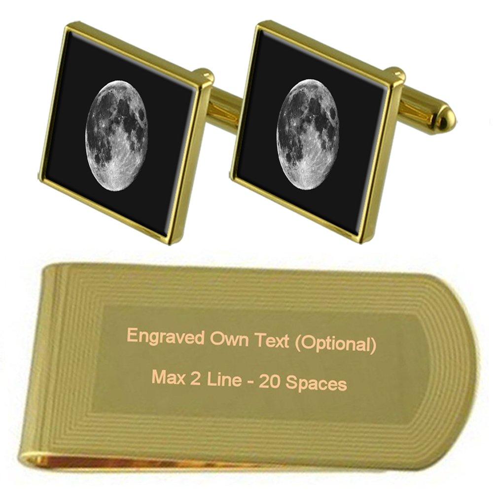 Moon Gold-tone Cufflinks Money Clip Engraved Gift Set