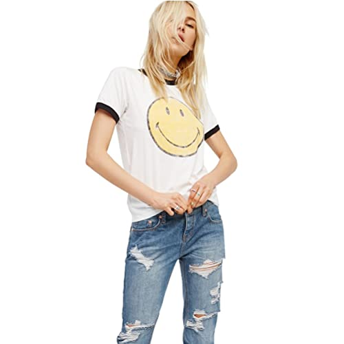 Camisetas Mujer Manga Corta Verano Tumblr Divertidas Emojis Casual Blancas Tops Tallas Grandes (Blan...