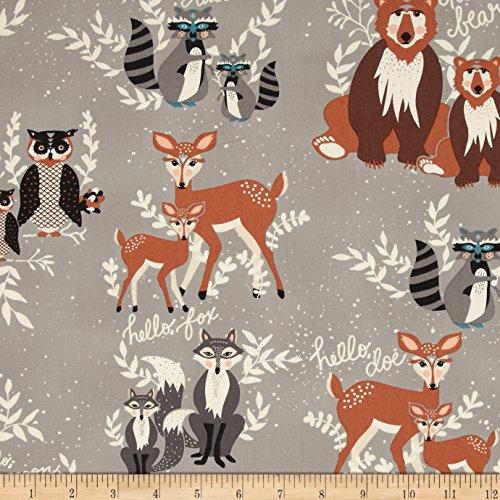 Art Gallery Fabrics Art Gallery Hello Bear Oh, Hello Fabric by The Yard, Fog