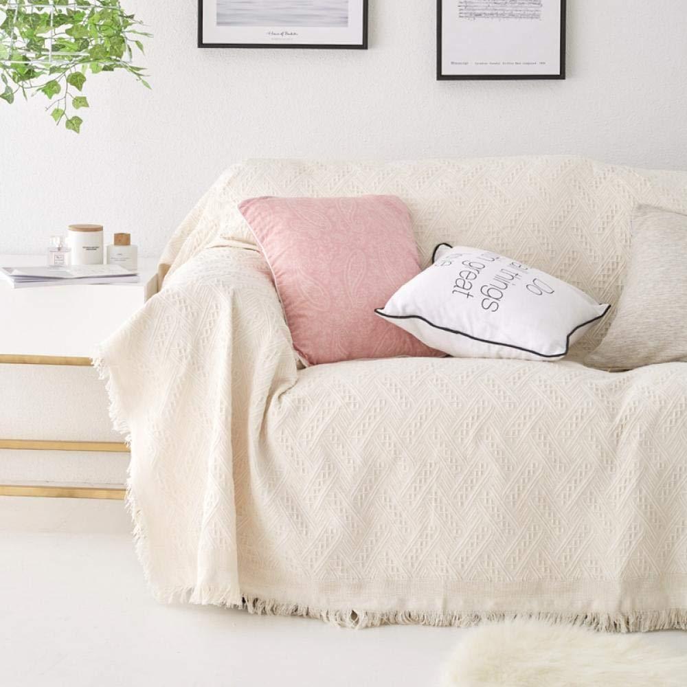 Jasken yyqx container Nordische Normallackvolldeckung ins Sofatuch-Sofatuch-Sofadecke einfache einfache Sofabezug-Sofakissenbezug-Tuchabdeckung, weißer gestrickter T-Typ 230 * 330cm