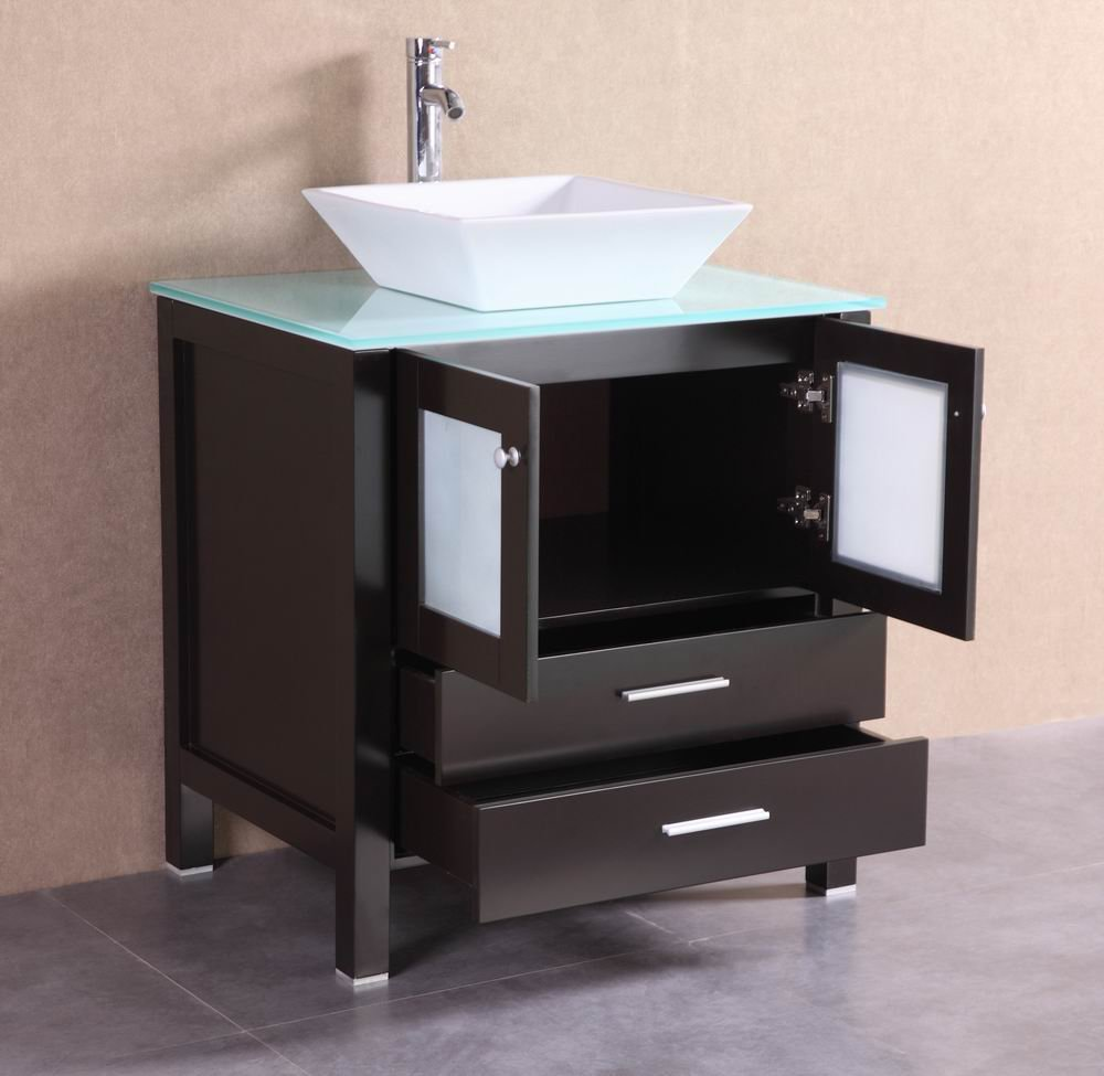 Belvedere Designs T9138A Modern Bathroom Vanity With Glass Top ...