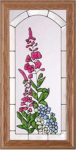 Flowers Fireweed Forget-me nots 11.5 Wide x 22.5 High Hand Painted Art Glass Panel