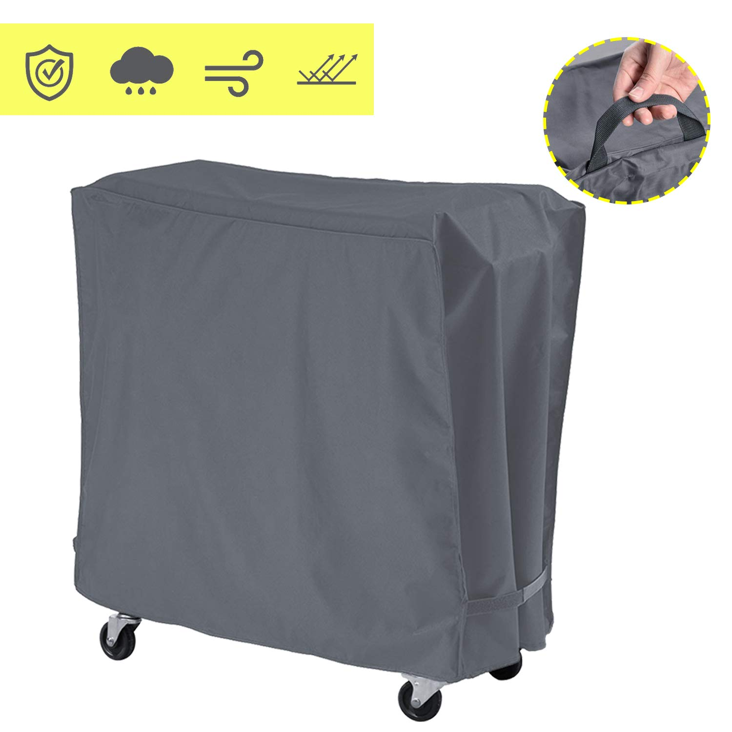 AKEfit Cooler Cart Cover Universal Outdoor 80 Quart Rolling Ice Cooler Cover,Waterproof Durable Fabric with Handles, Pool Cooler Cover,Rolling Ice Chest Cover,Party Cooler (Grey) by AKEfit