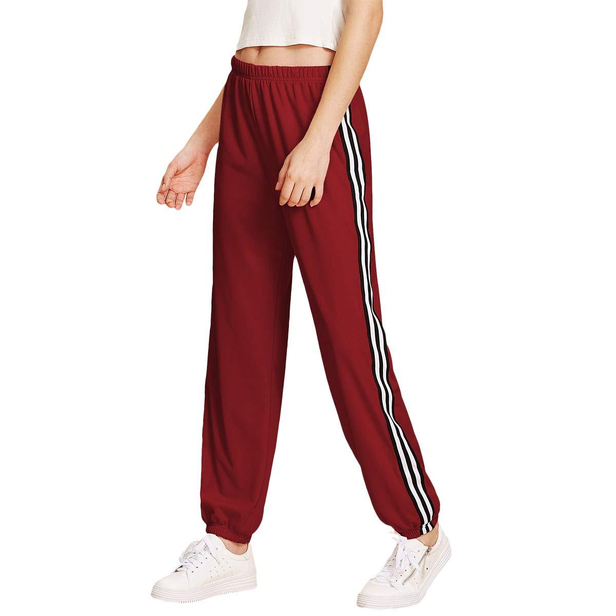 SOLY HUX Damen Hosen Sporthose Sweathose Casual Streifen Elastischer Bund Jogginghose