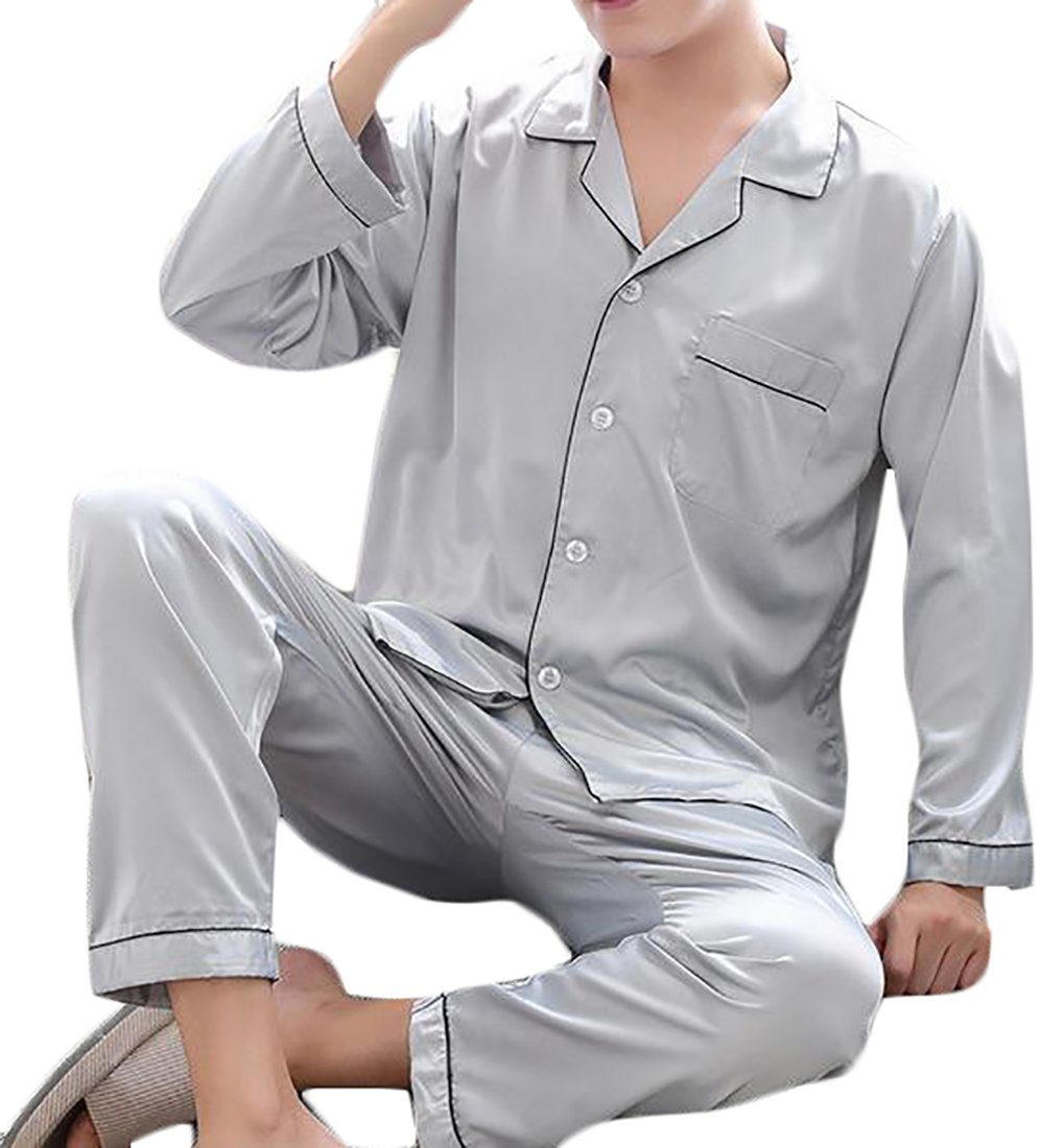 Pluszing Men's Comfort Plain Top and Bottom Satin Pajamas Sleep Set