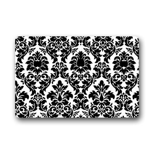 Fandim Fly Black White Damask Door Mats Rug Non-Skid Slip Rubber Indoor Kitchen Entry 20 x 31.5 inch