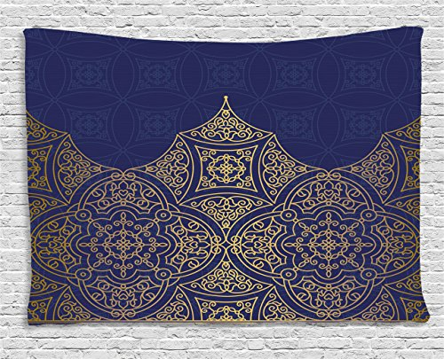 Indigo Tapestry by Lunarable, Middle Eastern Style Ornament Ottoman Moroccan Cultures Inspired Filigree Pattern, Wall Hanging for Bedroom Living Room Dorm, 80 W X 60 L Inches, Gold Indigo