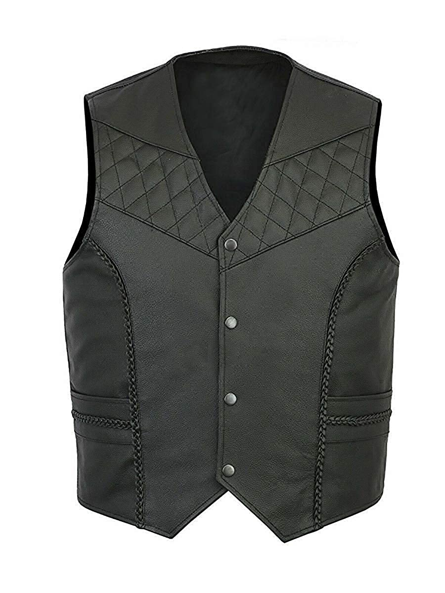 - SARZ-Fashion Men's Braided Plain Cafe Racer Biker Motorcycle Buttoned Closure Real Leather Vest Style 2