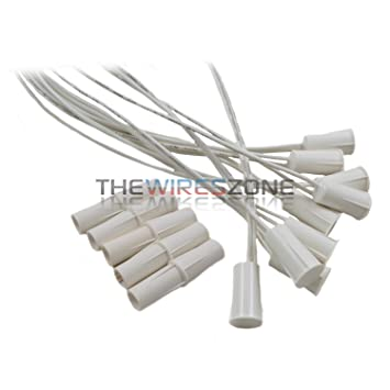 10 pk White 3/8u0026quot; Recessed Wired Security Alarm Door Window Switch Contact Magnet  sc 1 st  Amazon.com & Amazon.com : 10 pk White 3/8