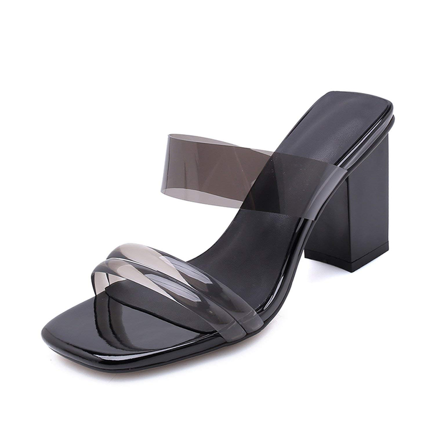 Jifnhtrs Chunky Heels Open Toe Summer Sandals Mules Party Wedding Shoes Women Sandals