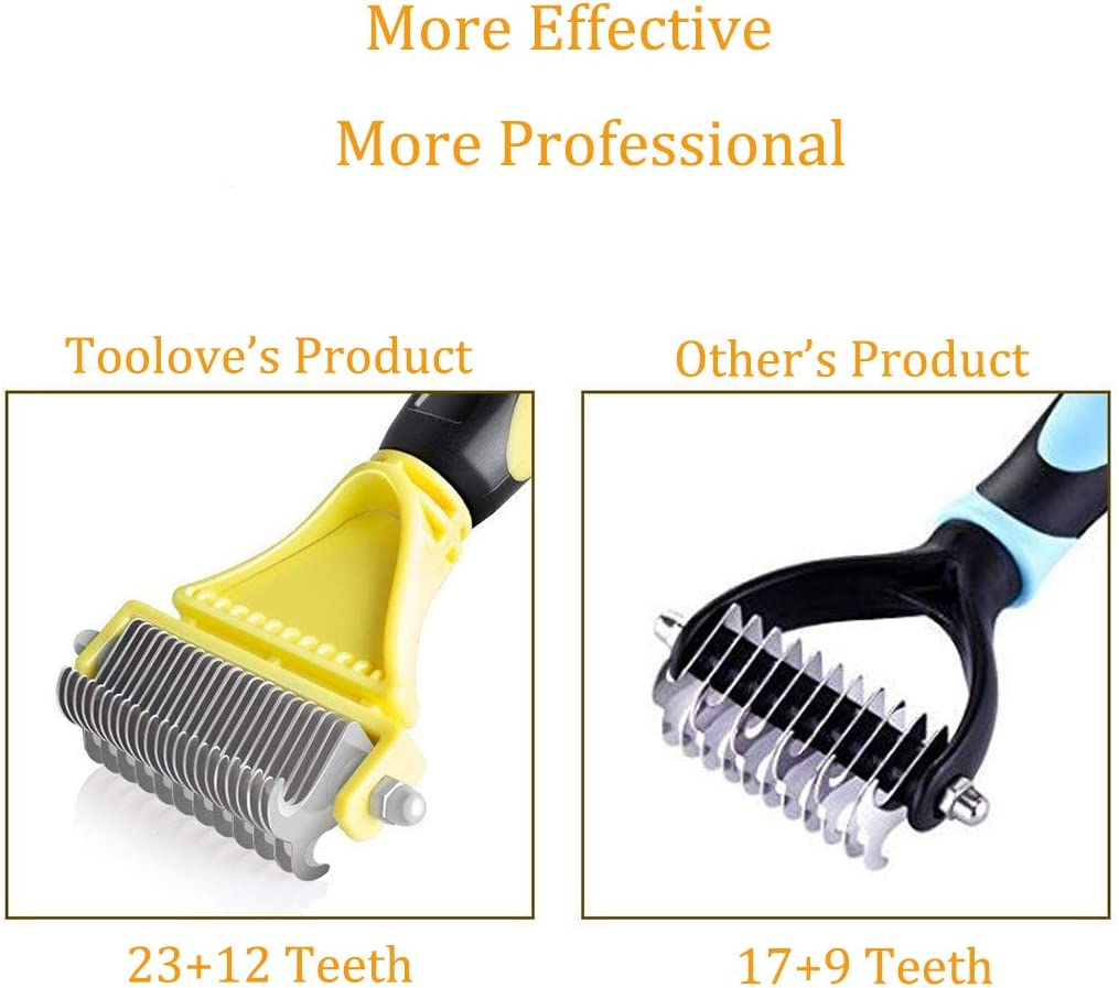 23+12 Double Sided Teeth Undercoat Rake for Dogs and Cats with Medium or Long Hair Dog Grooming Dematting Comb Toolove Pet Dematting Comb