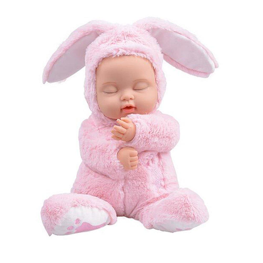 BIEBER Baby Child Gift Lifelike Realistic Reborn Sleeping Baby Doll Premium Soft Plush Toy (Pink) by BIEBER (Image #1)