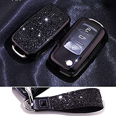 Royalfox(TM) 3 Buttons 3D Bling flip Folding Remote Key Fob case Cover for VW Volkswagen Jetta GTI Passat Golf Tiguan Touareg Beetle Multivan Sagitar Passat Accessories,with Keychain (Black)