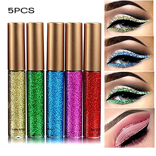 Coosa Glitter Liquid Eyeliner 5PCS Long Lasting Waterproof Sparkling Eyeliner Eye Shadow Pen (5PCS-2)