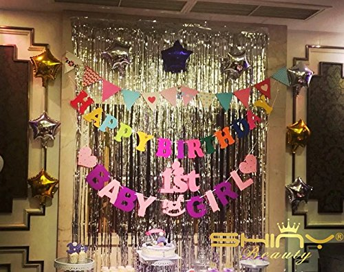 ShinyBeauty 9FTX10FT-Foil Fringe Backdrop-Silver,Tinsel Foil Fringe Curtain For Door,Window,Curtain,Wall Decoration,Party Accessory