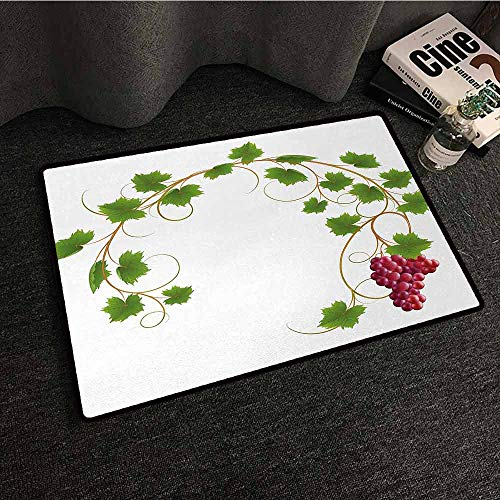 Printed Door mat Vineyard Curved Ivy Branch Deciduous Woody Wines Seeds Clusters Cabernet Theme Print Country Home Decor W31 xL47