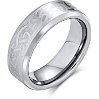 Irish Viking Celtic Infinity Love Knot Couples Titanium Wedding Band Rings for Men for Women Matte Silver Tone 7MM
