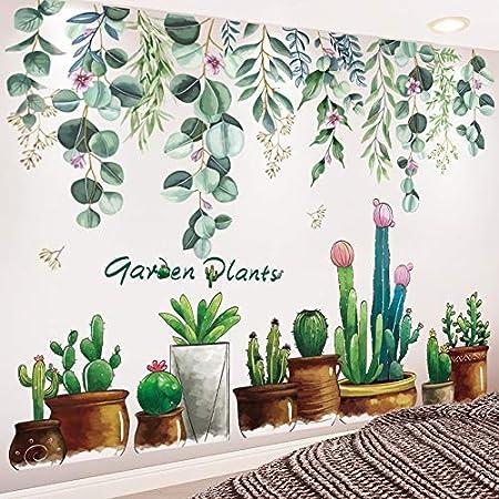 YANJ Pegatinas Pegatinas de Pared Plantas del jardín de DIY Hojas casa Salón Dormitorio Decoración decoración del hogar (Color : Pot Plant and Leaves): Amazon.es: Hogar
