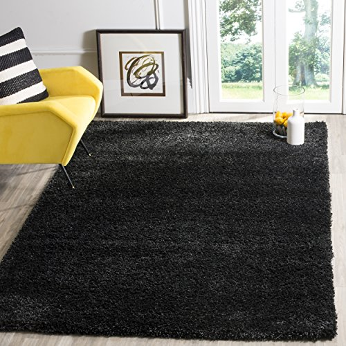 Safavieh California Premium Shag Collection SG151-9090 Black Area Rug (6'7