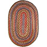 Super Area Rugs Gemstone Braided Red Multi Color Rug Indoor/Outdoor Rug Extra Strong Kitchen Carpet, 2' X 3' Oval