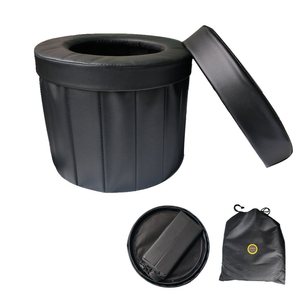 ShineLife Portable Car Commode Folding Toilet Seat - Perfect for Camping, Hiking, Trips, Traffic jam, Also canbe Used as a Stool (Black) by ShineLife (Image #1)