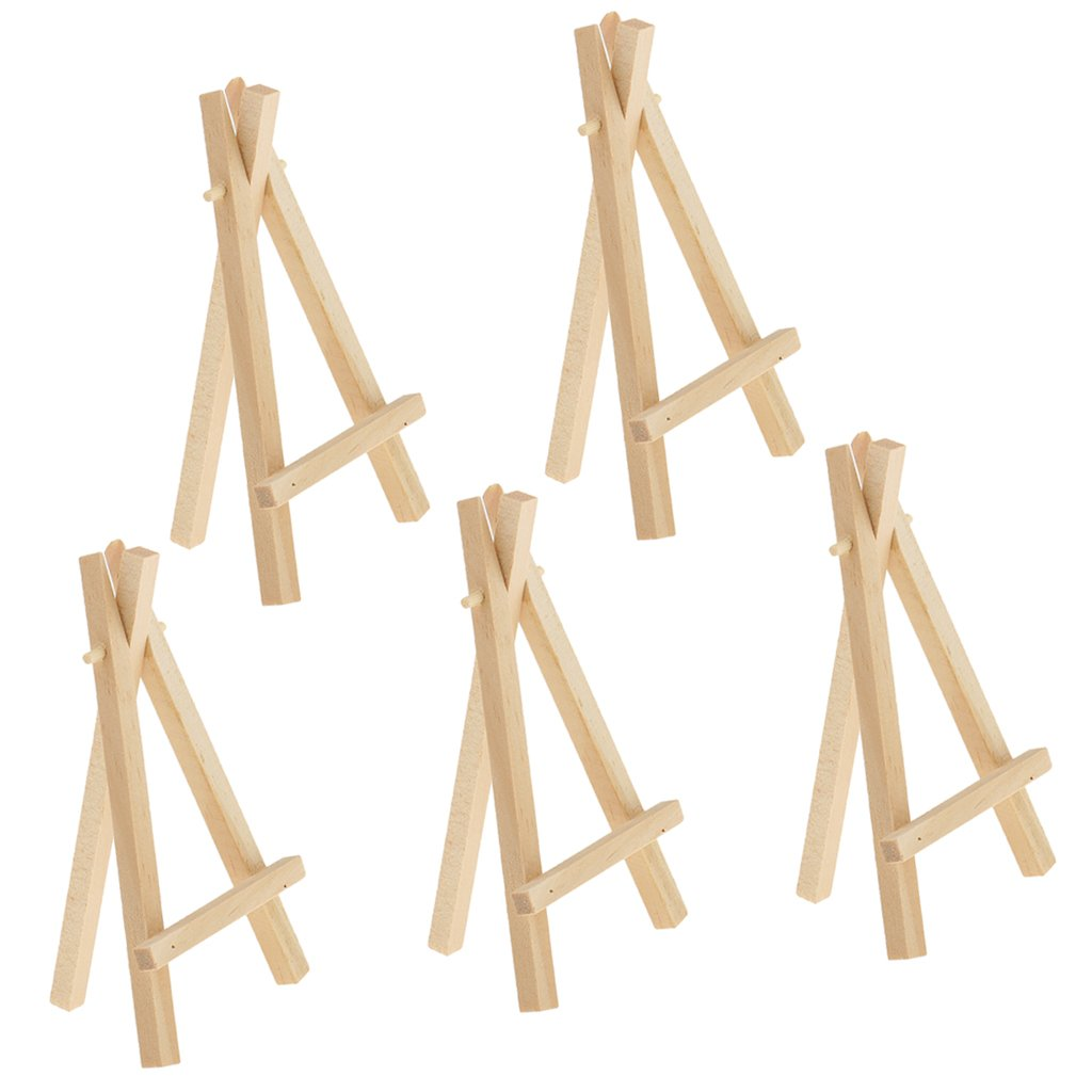 MagiDeal 5 Pieces Mini Wooden Easel Display Painting Stand Card Canvas Holders 2 Sizes - S