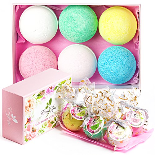 EasySPA Large Bath Bombs Gift Set - 6 x 5oz Premium Aromatherapy Essential Bath Fizzies - Gift For Women, Mom, Girls, Teens, Her - Best For Relaxation