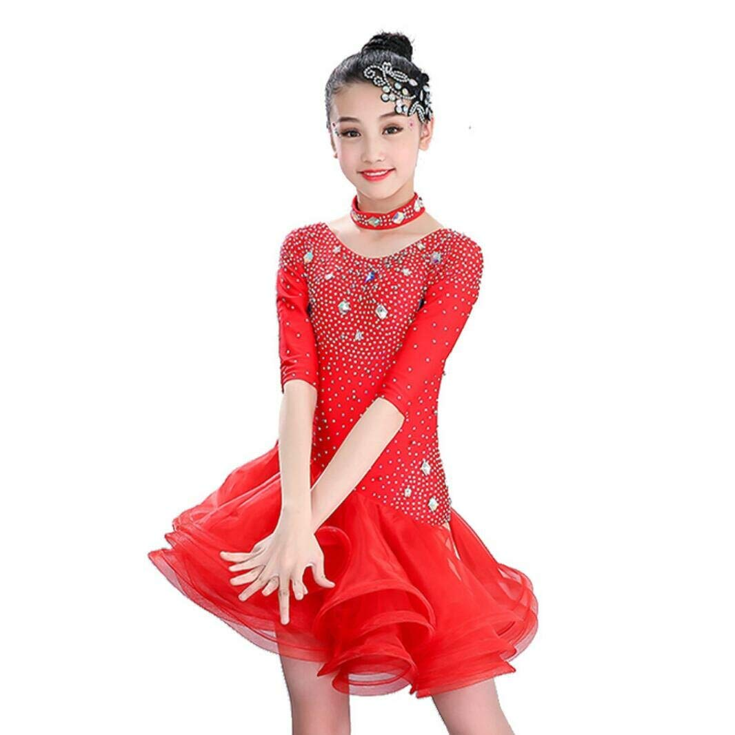TANGF TANGF TANGF Tanzkleid Performance-Kleidung Latin Dance Dress Ballroom Dance Dress Kleid für Kinder Tanzwettbewerb Bekleidung B07PLB9GPB Bekleidung Bevorzugte Boutique 5c2ed6