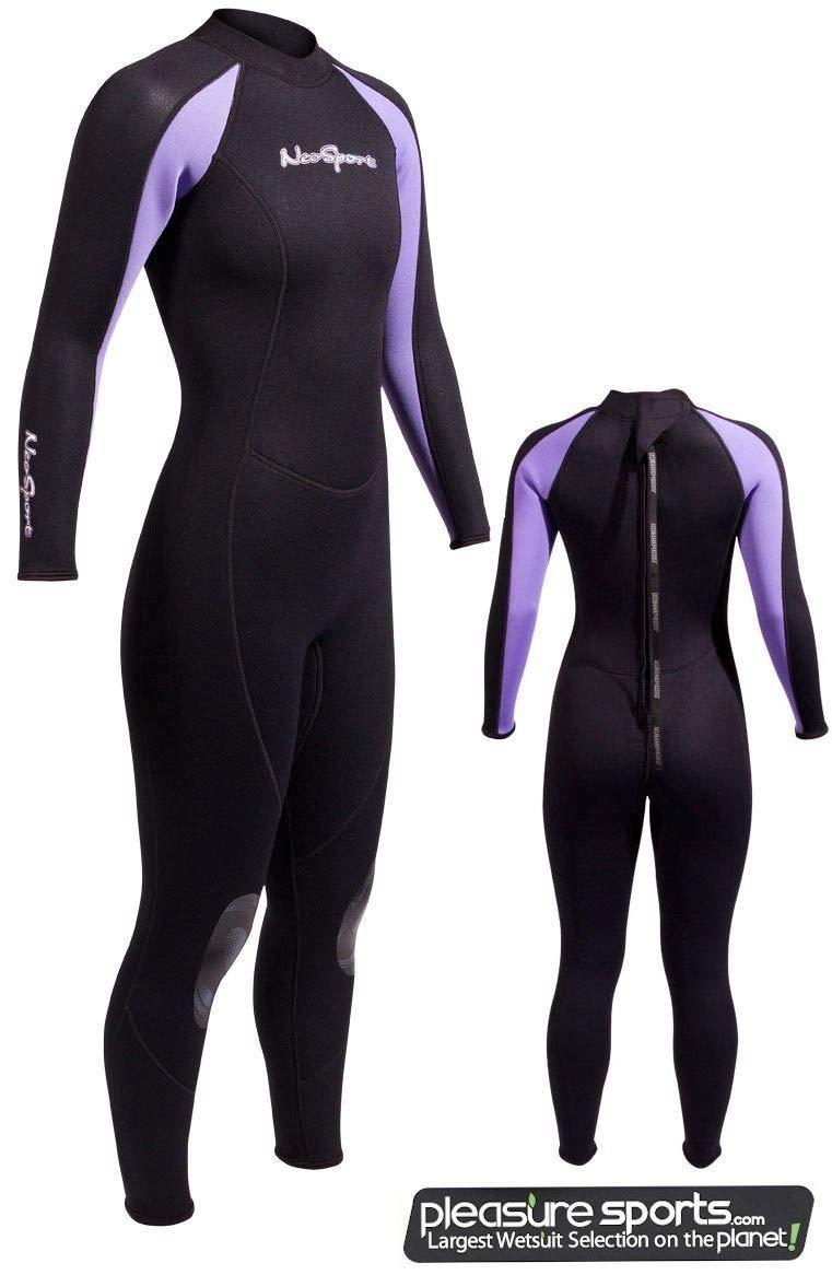 NeoSport Wetsuits Women's Premium Neoprene 7/5mm Full Suit, Lavender Trim, 8 - Diving, Snorkeling & Wakeboarding by Neo-Sport
