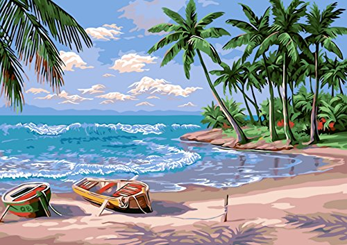 Wall Decor Kit (TianMai Hot New DIY 5D Diamond Painting Kit Crystals Diamond Embroidery Rhinestone Painting Pasted Paint By Number Kits Stitch Craft Kit Home Decor Wall Sticker - Sunlight Beach Boat Forest, 40x30cm)