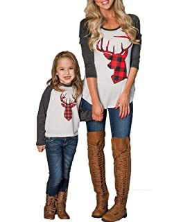 Mommy and Me Fashion Deer Print Long Sleeve T Shirt Blouse Tops Matching Family Clothes Girl M, Leopard