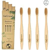 GoGreen 4 Cepillos de Dientes de Bambú Reutilizable Biodegradable, Cerdas con infusión de Carbón Activado, 100% bambú natural, resistente al agua. (beige)