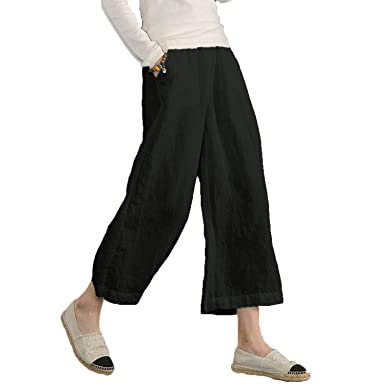 c3f2f706fe15aa Ecupper Women's Elastic Waist Causal Loose Trousers Plus 100 Linen Cropped  Wide Leg Pants, Black