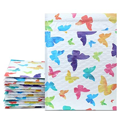Amazon Com Mailer Plus 0 6x10 Colorful Butterfly Poly Bubble