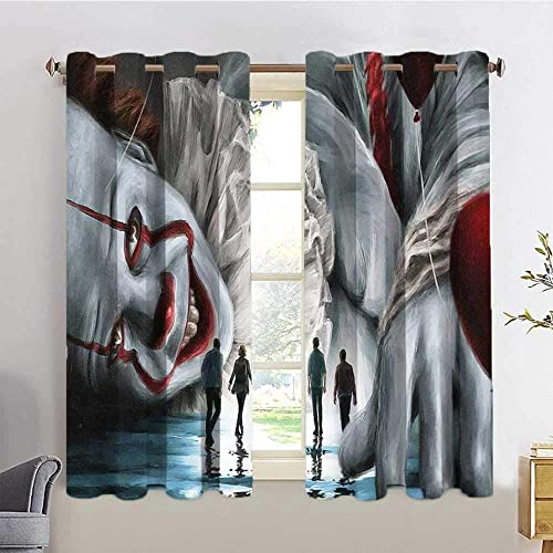 HoMdEfW UV Blockout Curtain Panels it Chapter Two it Movie d7,W84 INCH x L72 INCH