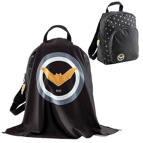 Mochila Infantil Pequeña SuperKid Black con Capa